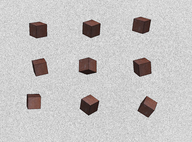 9 cubes on a greyish background